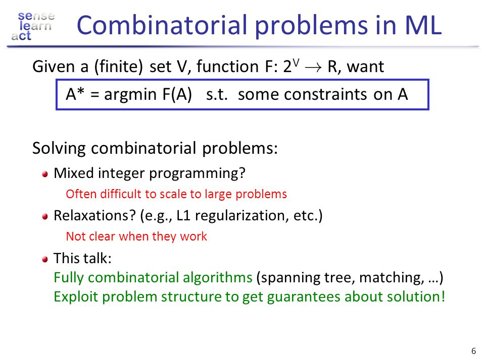 Combinatorial problems in ML