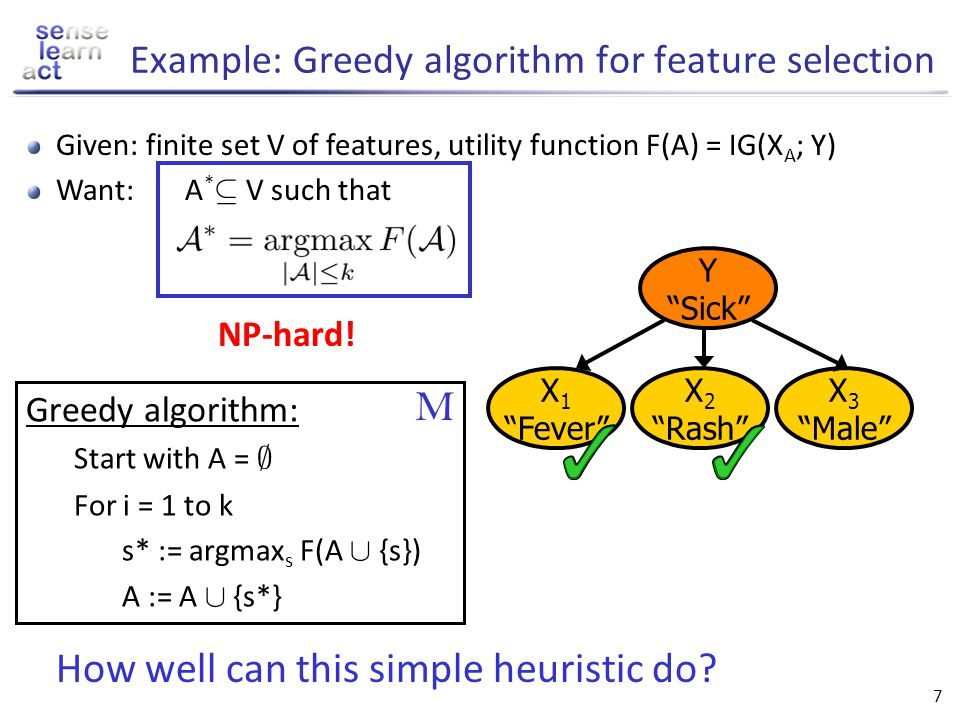 Example: Greedy algorithm for feature selection