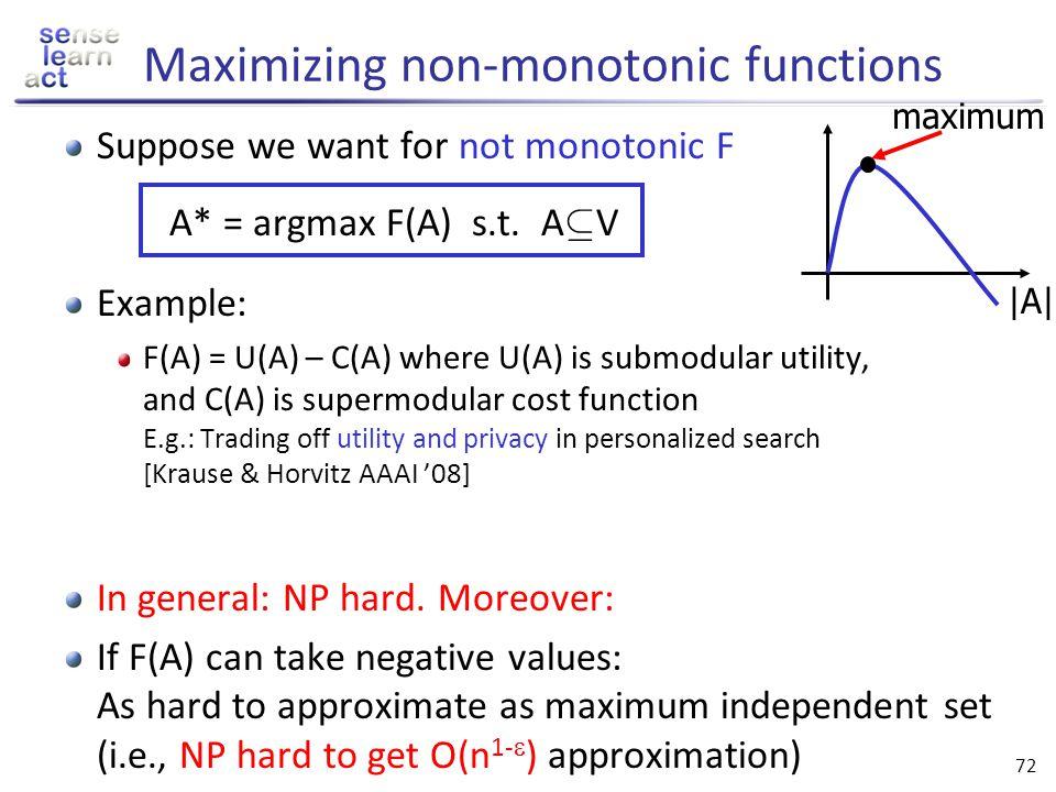 Maximizing non-monotonic functions