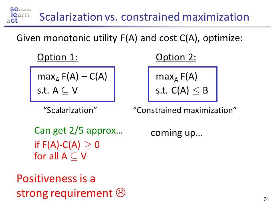 Scalarization vs. constrained maximization