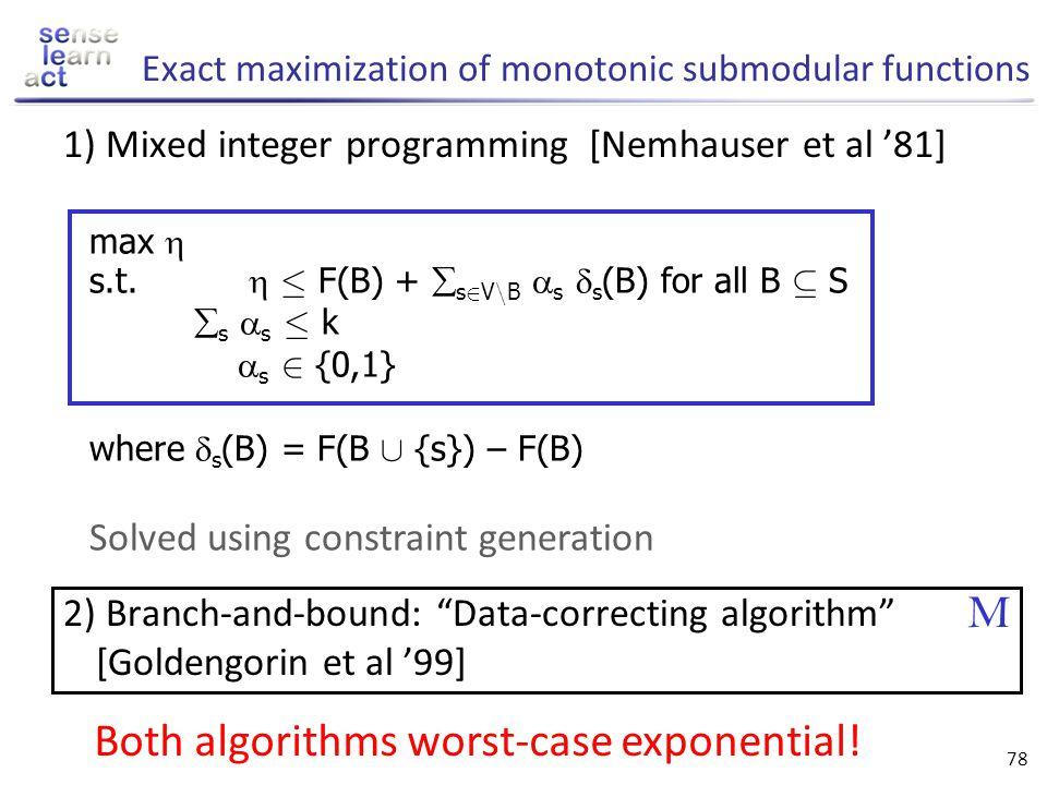 Exact maximization of monotonic submodular functions