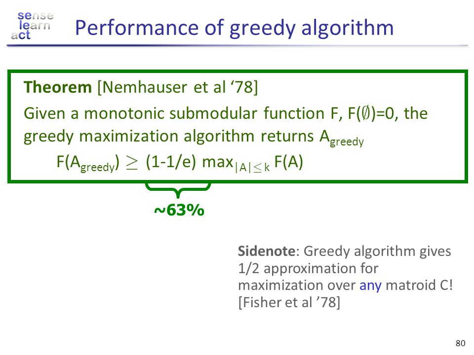 Performance of greedy algorithm