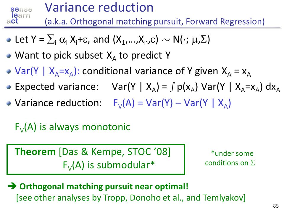 Variance reduction (a. k. a