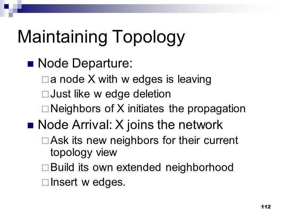 Maintaining Topology Node Departure: Node Arrival: X joins the network