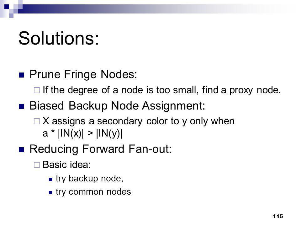 Solutions: Prune Fringe Nodes: Biased Backup Node Assignment: