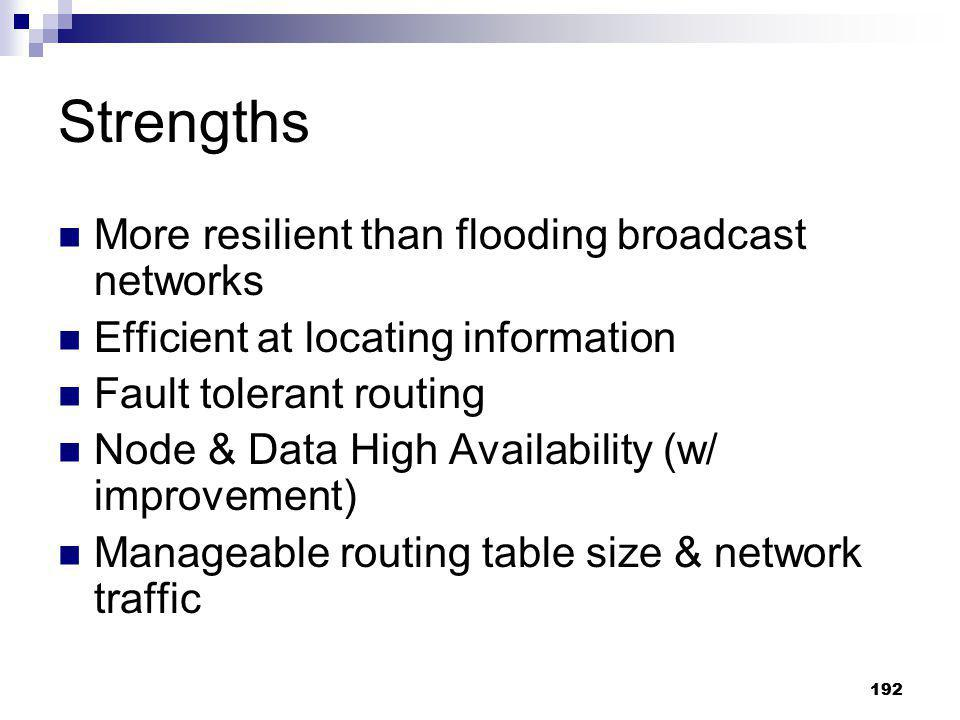Strengths More resilient than flooding broadcast networks