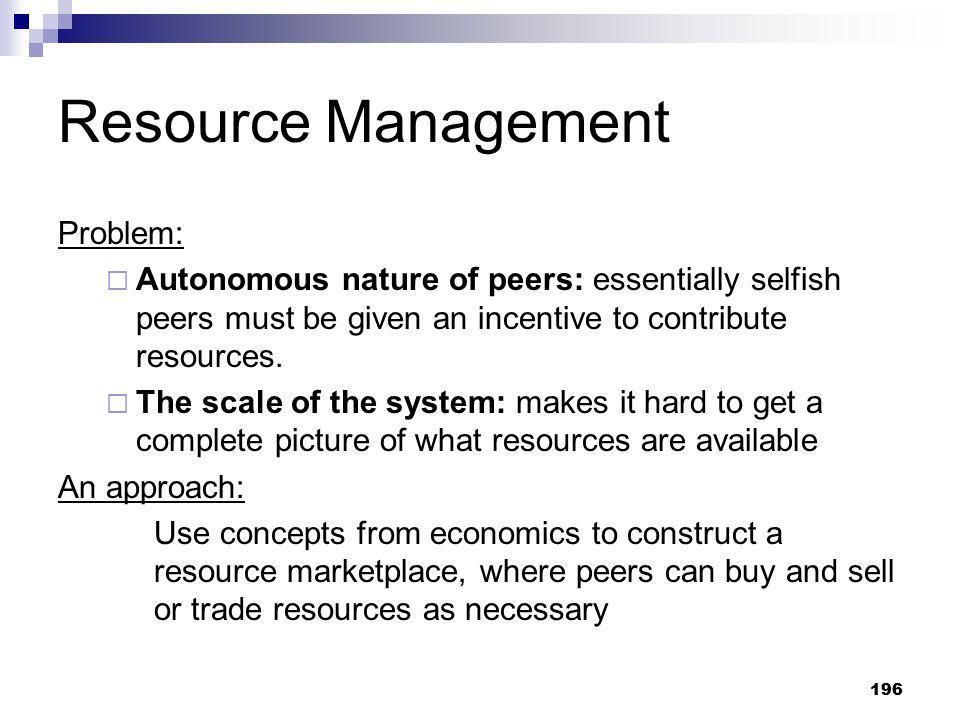 Resource Management Problem: