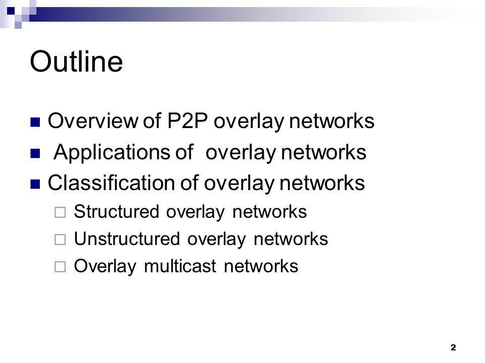 Outline Overview of P2P overlay networks