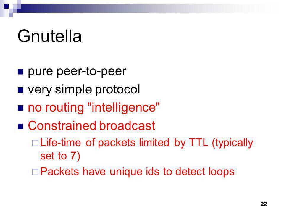 Gnutella pure peer-to-peer very simple protocol