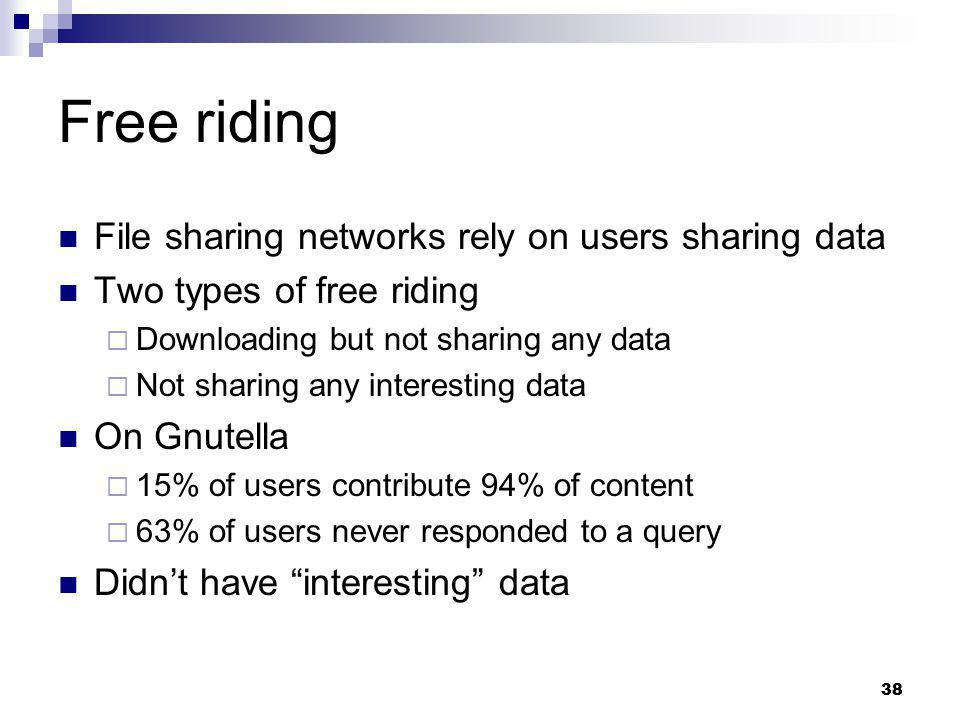 Free riding File sharing networks rely on users sharing data