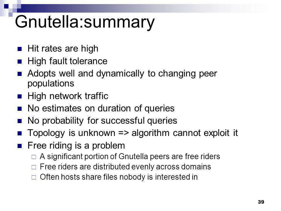 Gnutella:summary Hit rates are high High fault tolerance