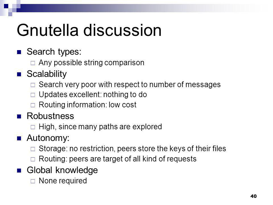 Gnutella discussion Search types: Scalability Robustness Autonomy:
