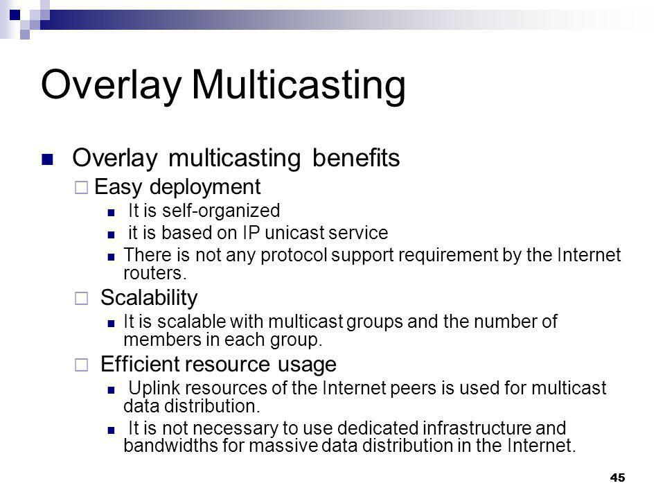 Overlay Multicasting Overlay multicasting benefits Easy deployment