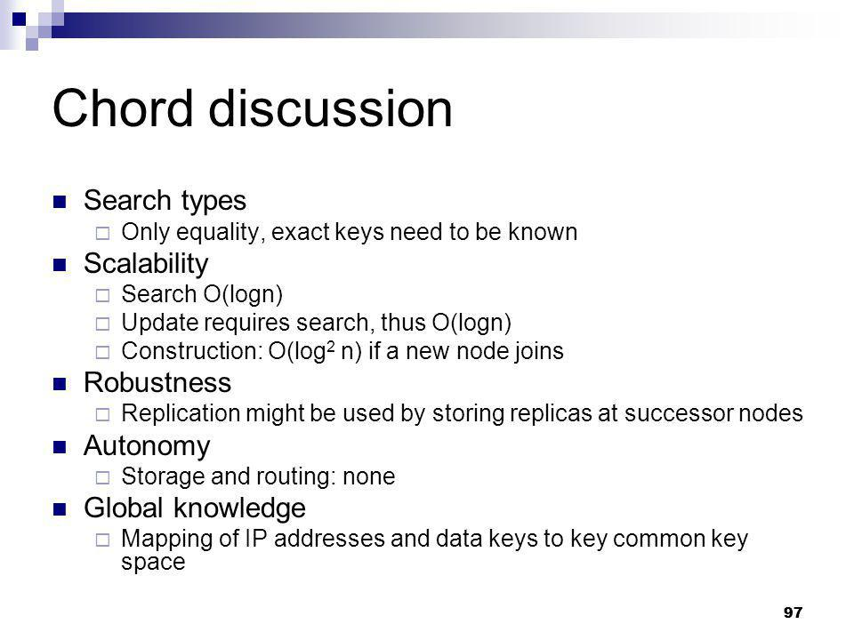 Chord discussion Search types Scalability Robustness Autonomy
