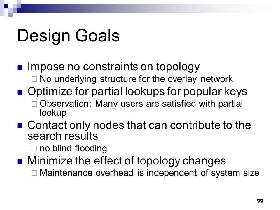 Design Goals Impose no constraints on topology