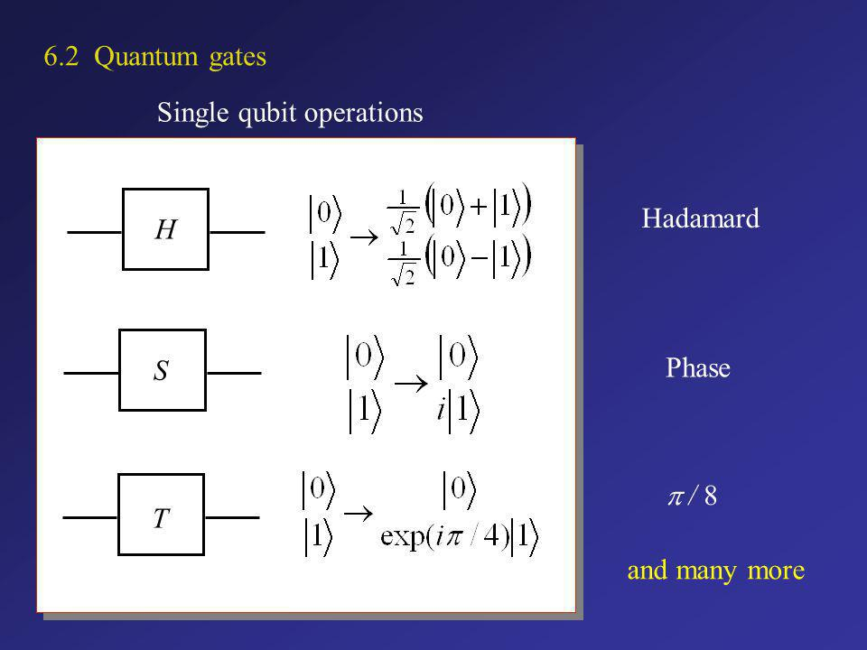 6.2 Quantum gates Single qubit operations H Hadamard S Phase T p / 8 and many more