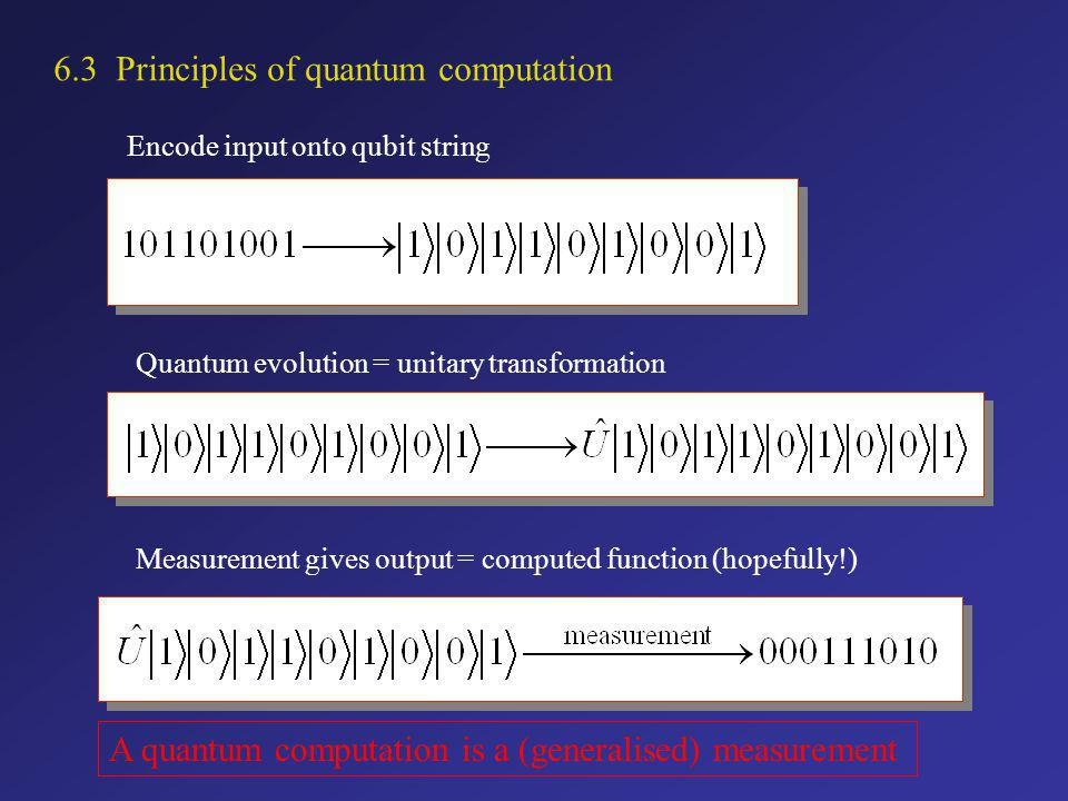 6.3 Principles of quantum computation