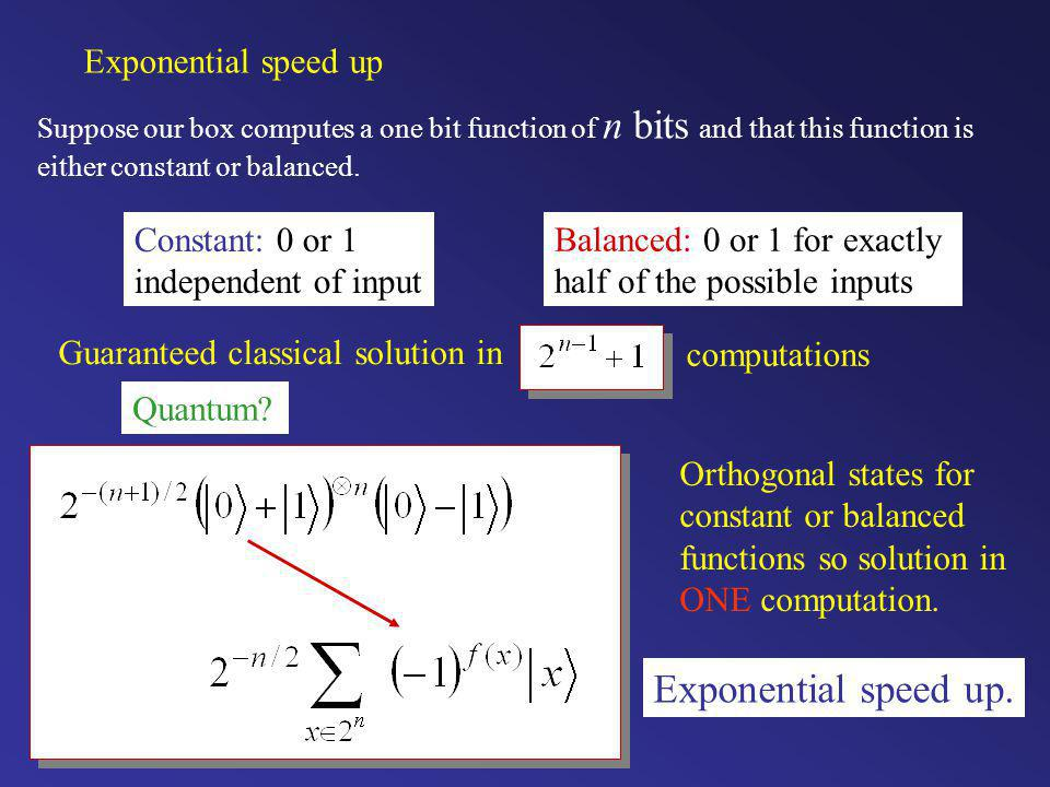 Exponential speed up. Exponential speed up Constant: 0 or 1