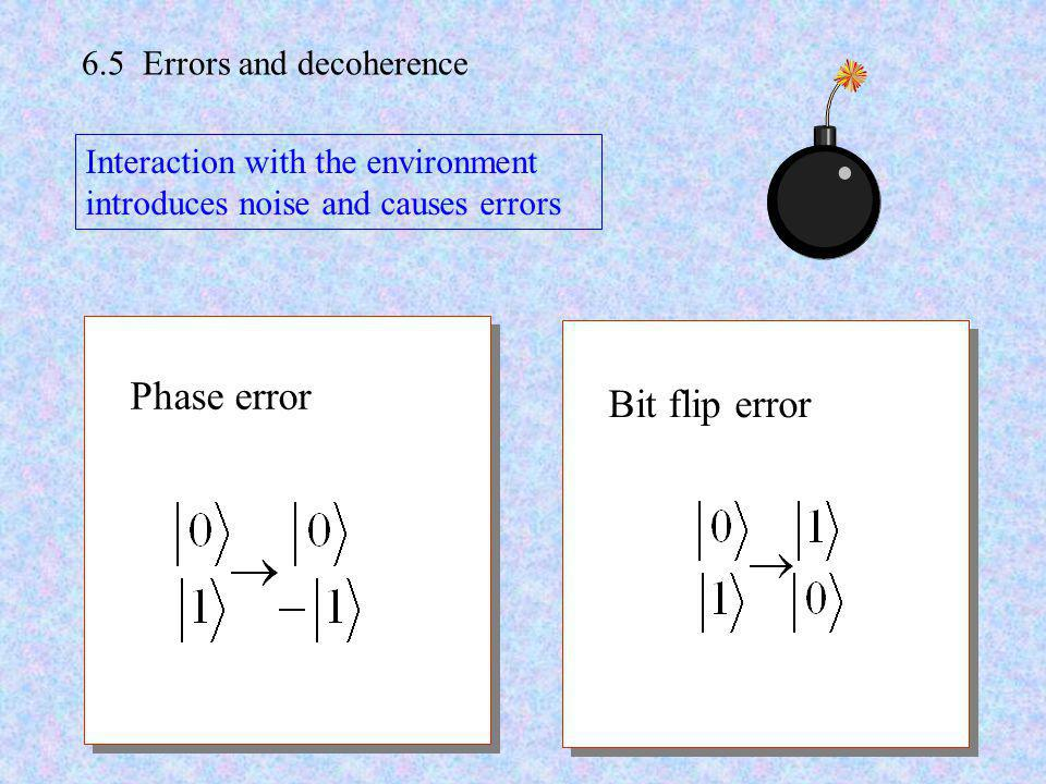 Phase error Bit flip error 6.5 Errors and decoherence