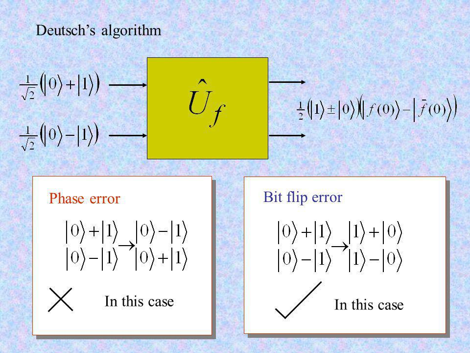 Deutsch's algorithm Phase error In this case Bit flip error In this case
