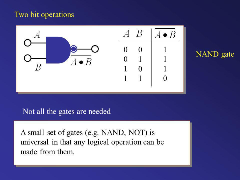 Two bit operations NAND gate. 1. Not all the gates are needed.
