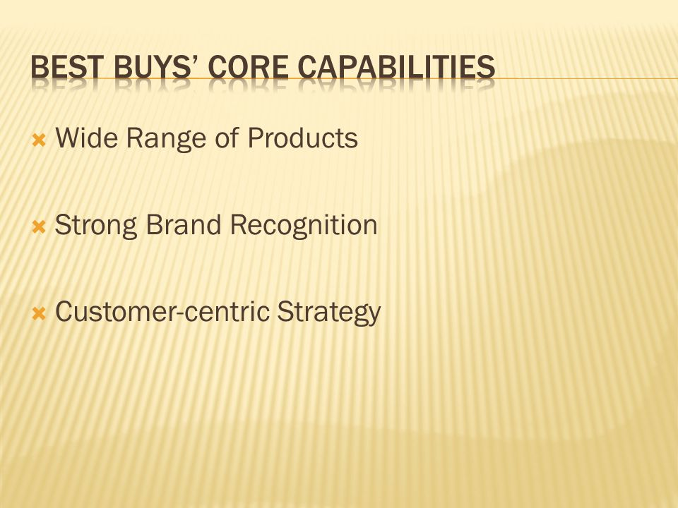 Best Buys' Core Capabilities
