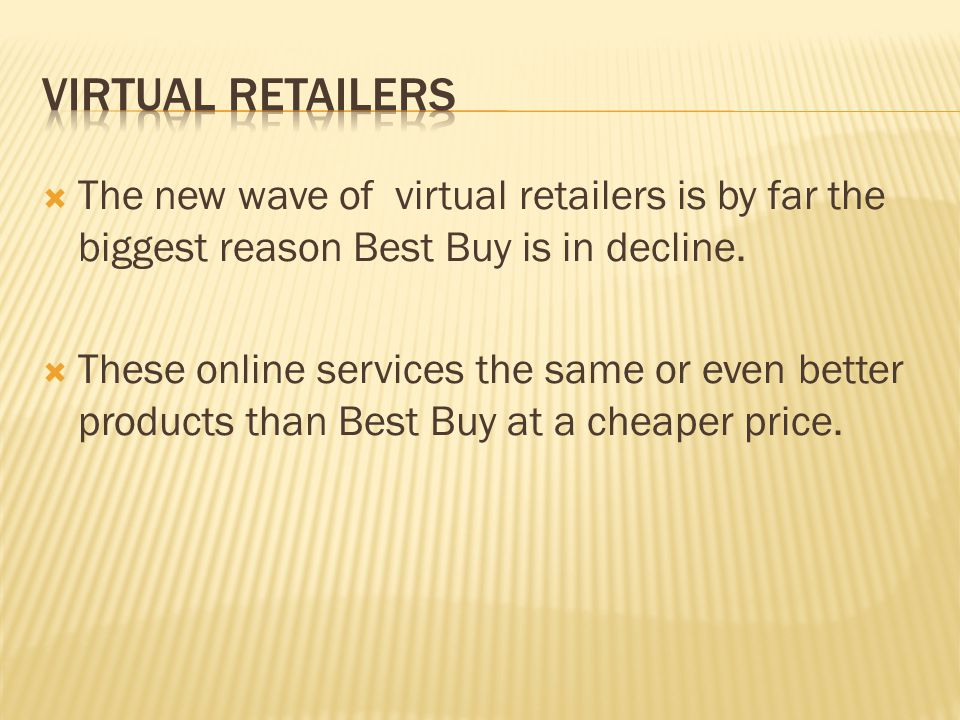 Virtual Retailers The new wave of virtual retailers is by far the biggest reason Best Buy is in decline.