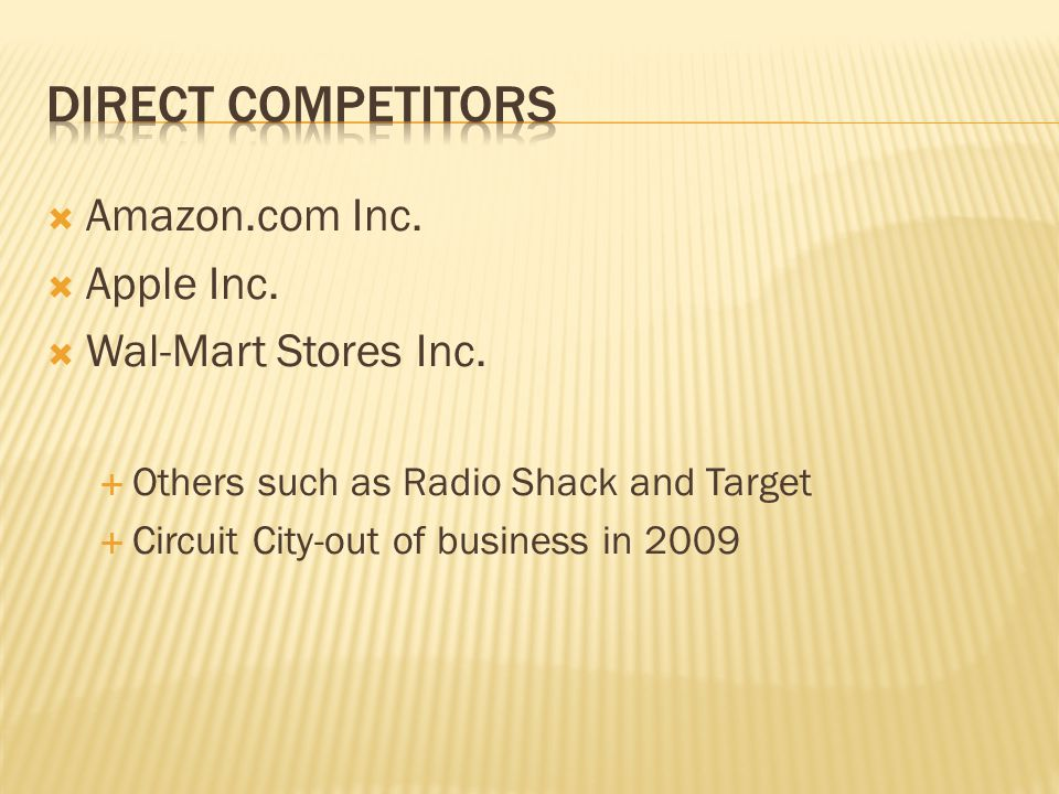 Direct Competitors Amazon.com Inc. Apple Inc. Wal-Mart Stores Inc.