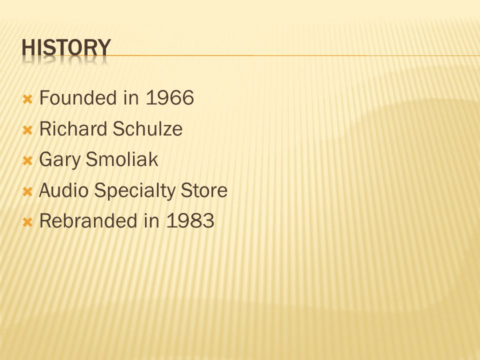 History Founded in 1966 Richard Schulze Gary Smoliak