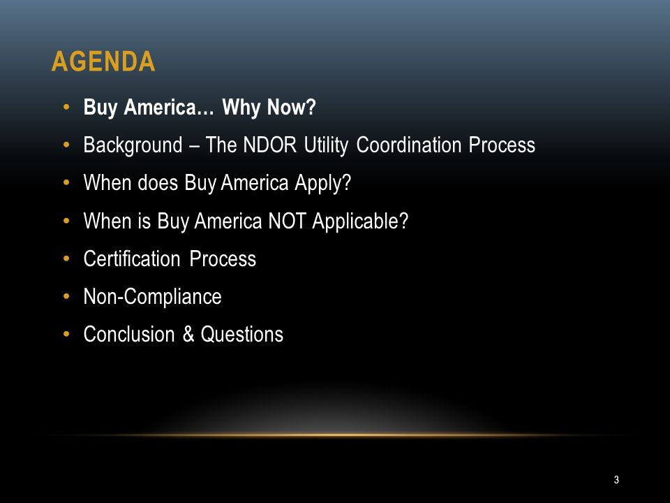 Agenda Buy America… Why Now