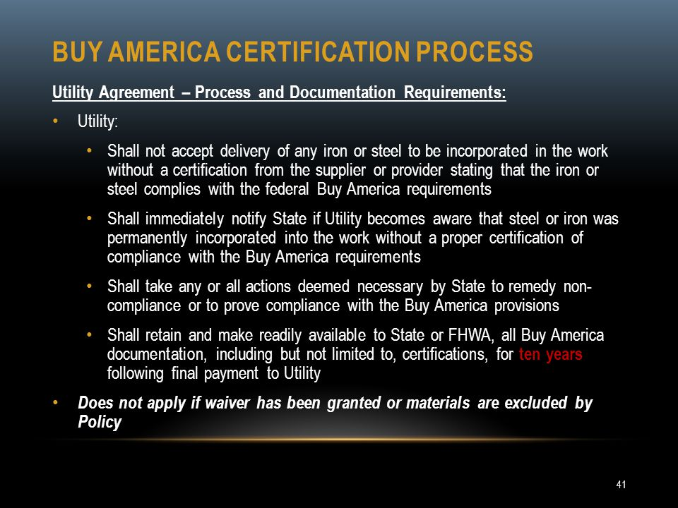 Buy America certification process