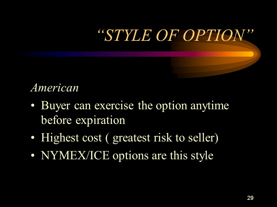 STYLE OF OPTION American