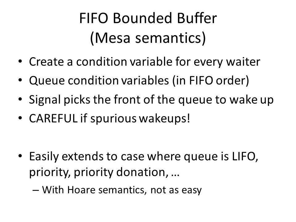 FIFO Bounded Buffer (Mesa semantics)