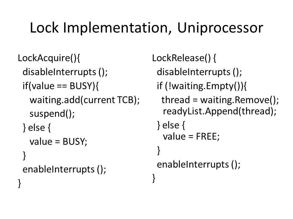 Lock Implementation, Uniprocessor