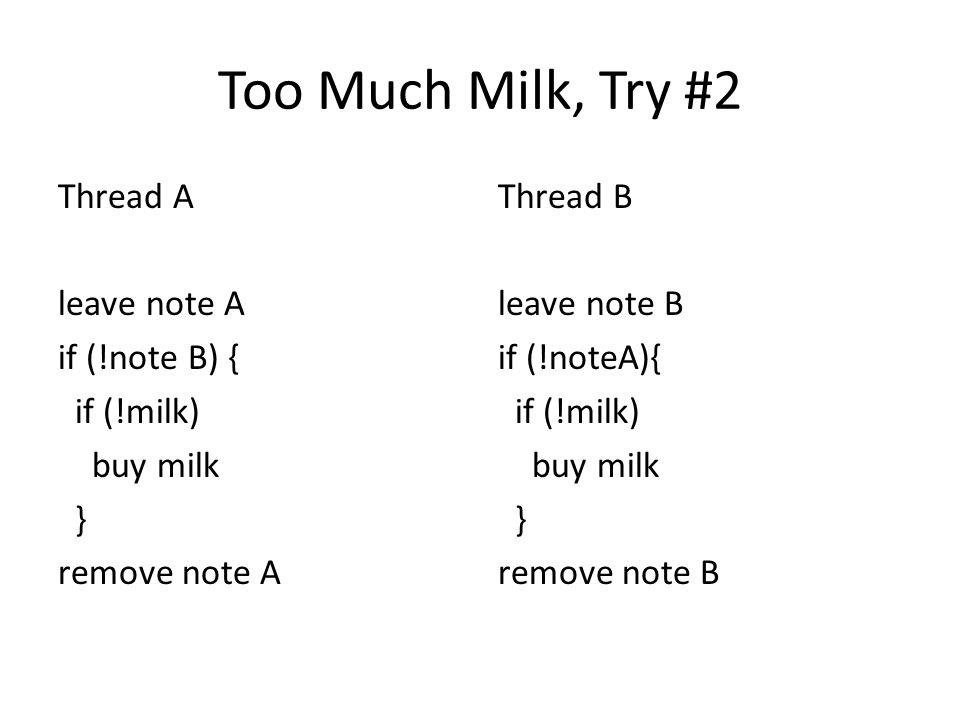 Too Much Milk, Try #2 Thread A leave note A if (!note B) { if (!milk) buy milk } remove note A