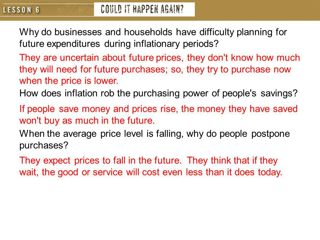Why do businesses and households have difficulty planning for future expenditures during inflationary periods
