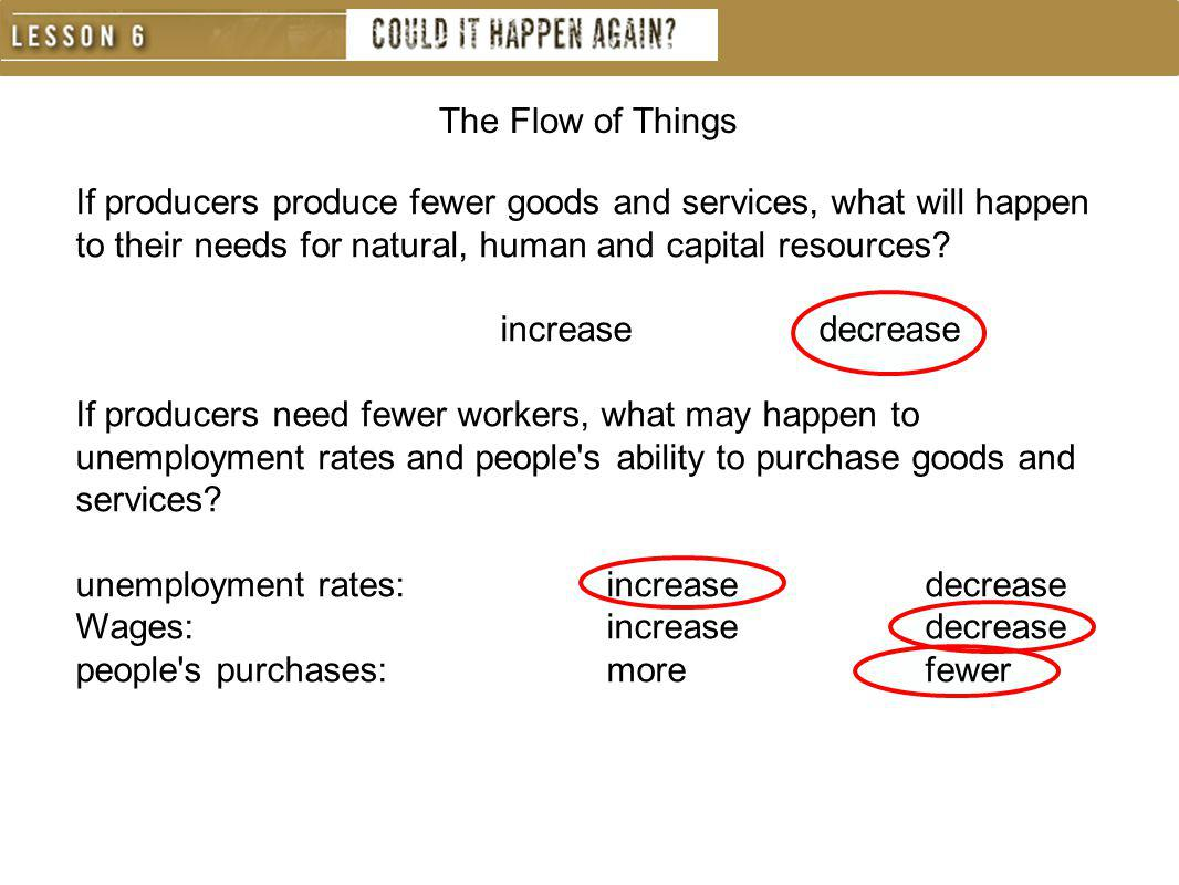The Flow of Things If producers produce fewer goods and services, what will happen to their needs for natural, human and capital resources