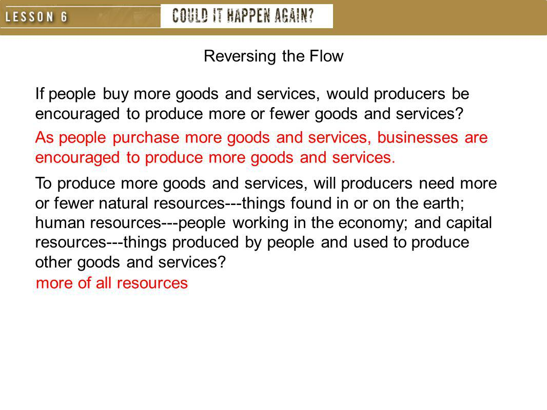 Reversing the Flow If people buy more goods and services, would producers be encouraged to produce more or fewer goods and services