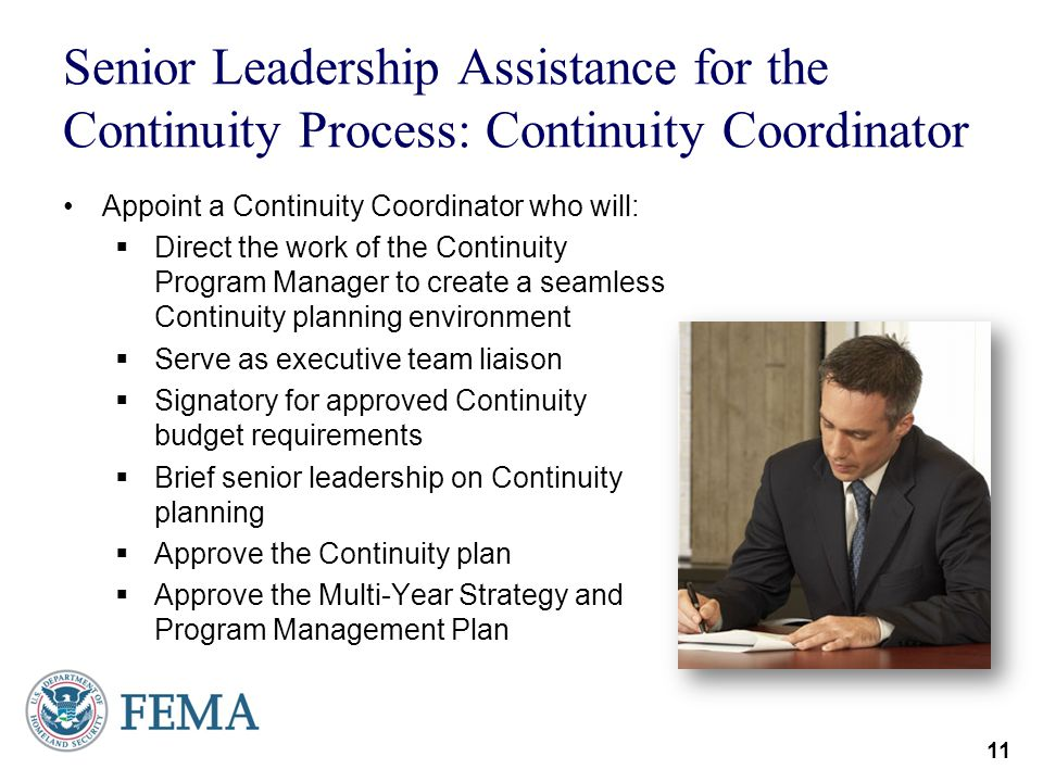 Senior Leadership Assistance for the Continuity Process: Continuity Coordinator