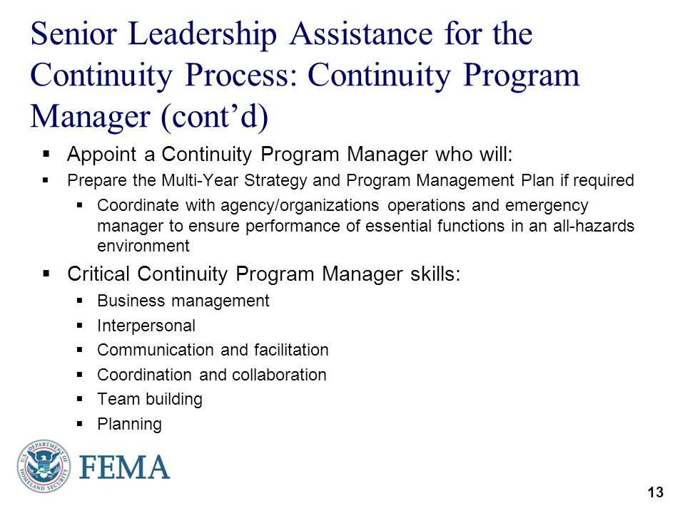 Senior Leadership Assistance for the Continuity Process: Continuity Program Manager (cont'd)