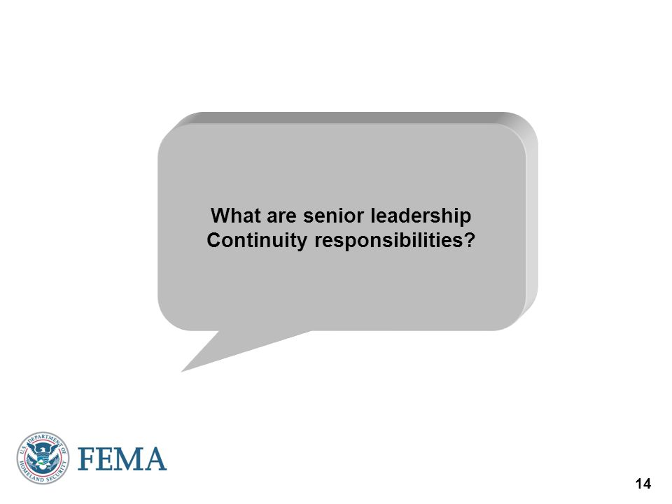 What are senior leadership Continuity responsibilities