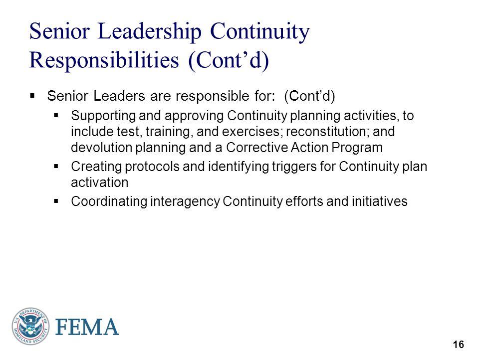 Senior Leadership Continuity Responsibilities (Cont'd)