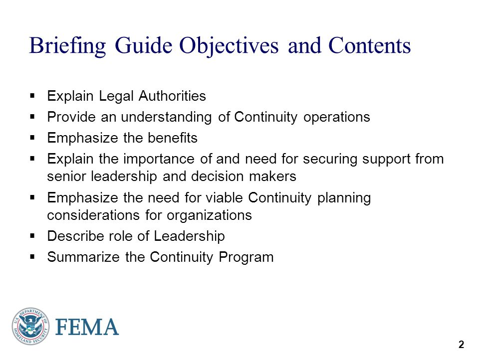 Briefing Guide Objectives and Contents
