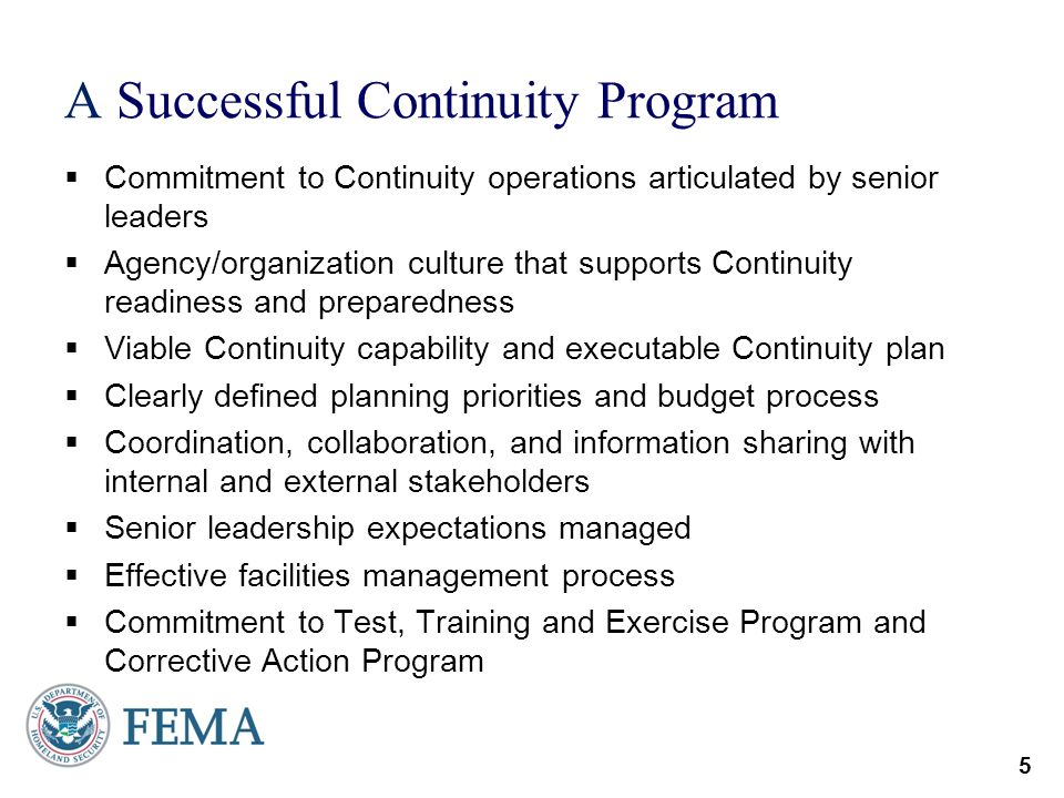 A Successful Continuity Program