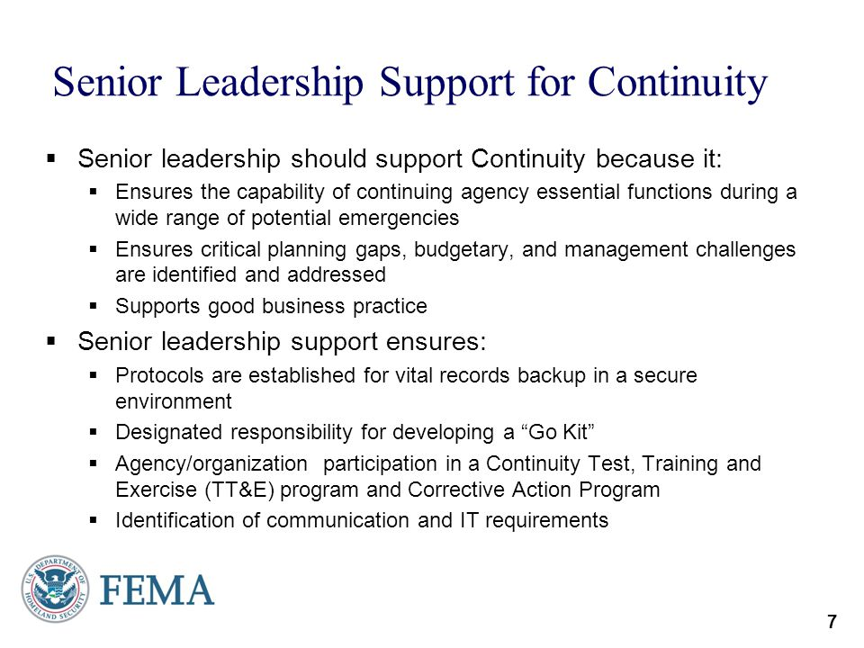 Senior Leadership Support for Continuity