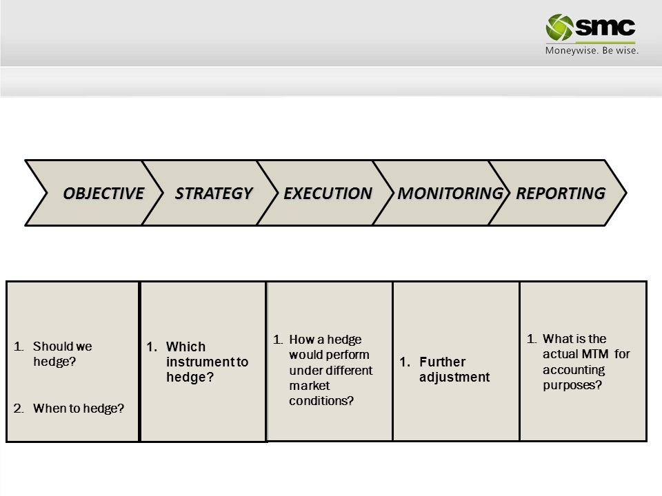 OBJECTIVE STRATEGY EXECUTION MONITORING REPORTING Should we hedge