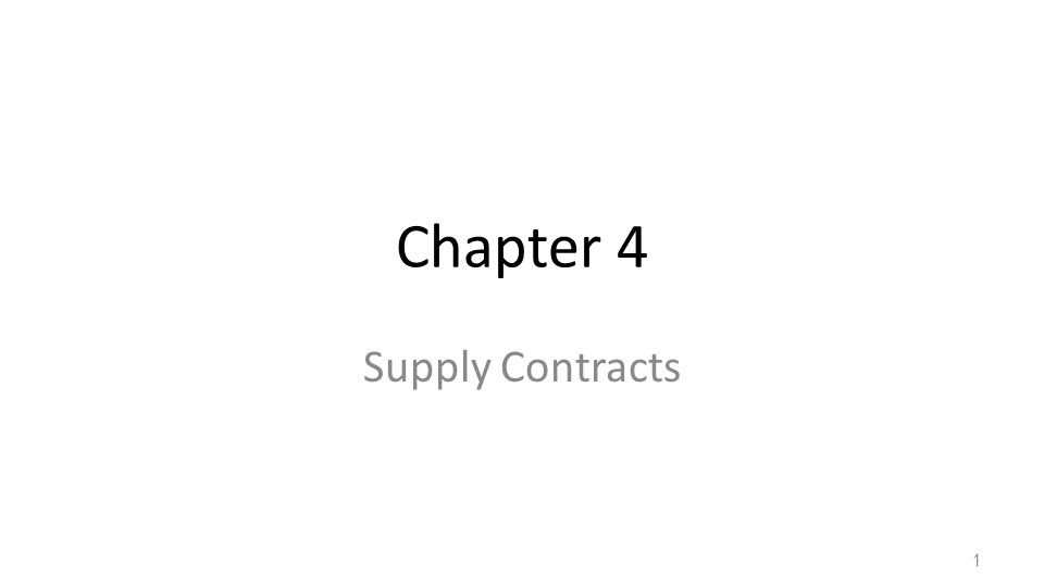 Chapter 4 Supply Contracts