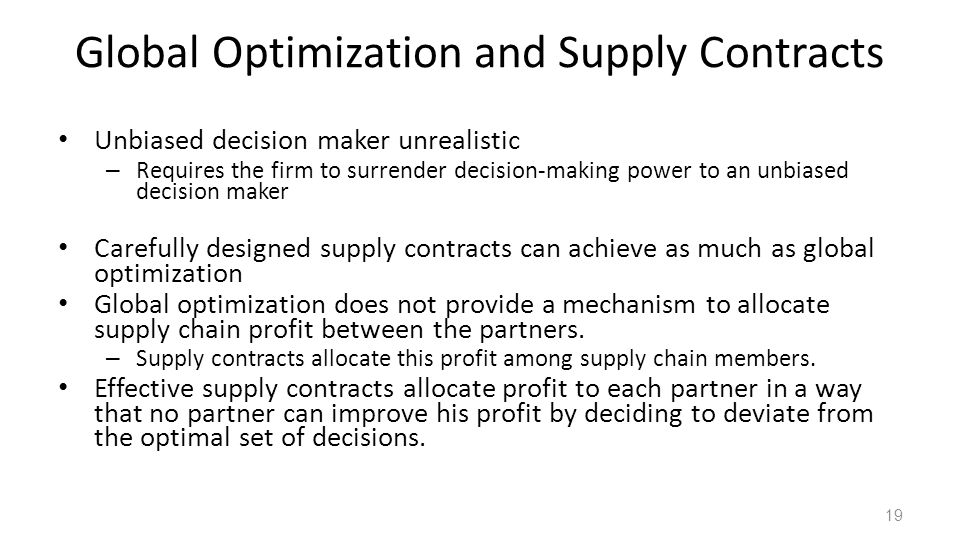 Global Optimization and Supply Contracts
