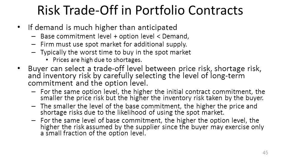 Risk Trade-Off in Portfolio Contracts