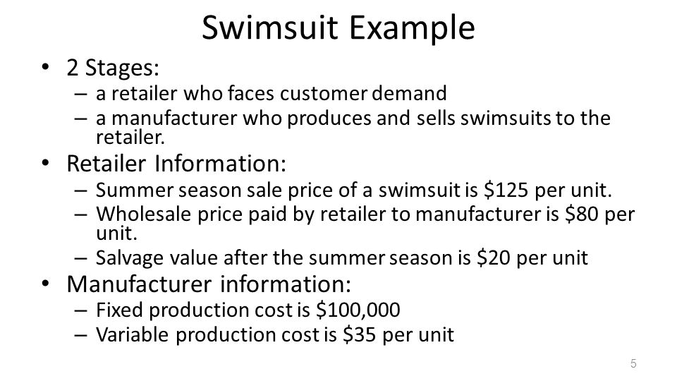 Swimsuit Example 2 Stages: Retailer Information: